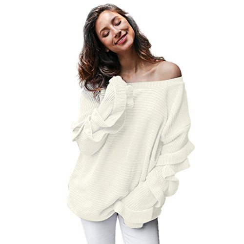 URSING Damen Herbst Winter Loose Fit Lange Ärmel Rüschen Sweater Gestrickt Pullover Elegant Off Shoulder Langarm Strickpullover Lose Einfarbig Strickpulli Oberteil Strickwaren (Weiß) (Cardigan Rüschen Cashmere)