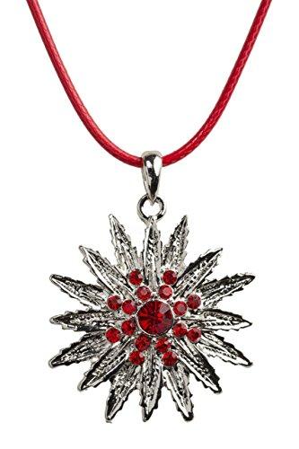 Trachtenkette Eiskristall - elegante funkelnde Kette mit Strass - Trachtenschmuck Edelweiss für Dirndl und Lederhose Damen (Rot)