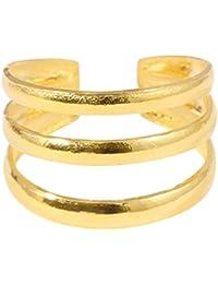 cd4b9114c7b0 Plata de Ley para dedo del pie anillo – tamaño ajustable. 3 bandas. Anillo  es de 10 mm de ancho en el punto más…