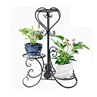 XFPINK Metal Plant Pot Stand Outdoor Elegant Raised Herb Floor Flower Display Rack Shelf with 3 and 4 Pots Holders Indoor Home Garden Patio Decor - Black rack