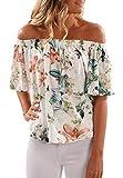 Cnfio Damen Bluse Oberteile Shirt Kurzarm Sommer Blumen Ärmelloses Schulterfrei Tops Weiß 3X