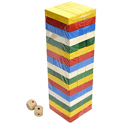 51 Pcs Colour Wooden Blocks Tumbling Jenga Building Tower Stacking Strategy Game Classic Dice Addition Twist by Sabar