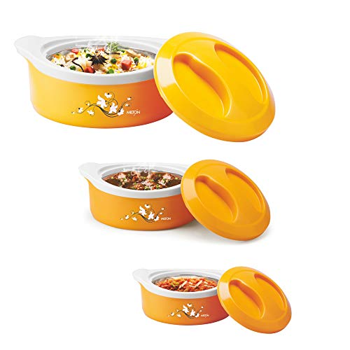 Milton Marvel Insulated Steel Casseroles, Junior Gift Set, 3 Pieces, Yellow