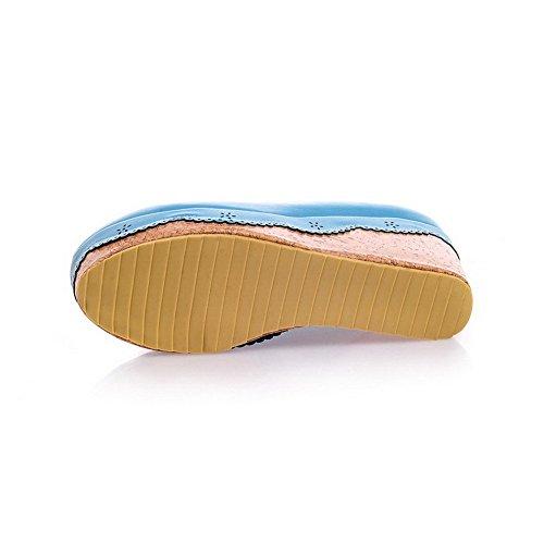 AgooLar Femme Matière Souple Tire Rond à Talon Haut Couleur Unie Chaussures Légeres Bleu