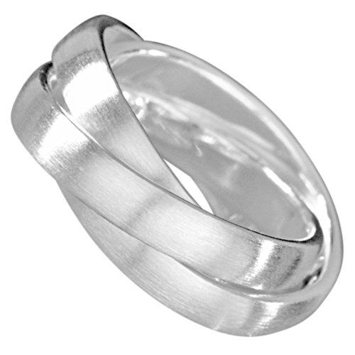 Vinani 3er Ring Wickelring massiv mattiert 3 Ringe beweglich Unisex Sterling Silber 925 Dreierring Größe 64 (20.4) R3M64 - Größe 3-ring Silber Aus Sterling
