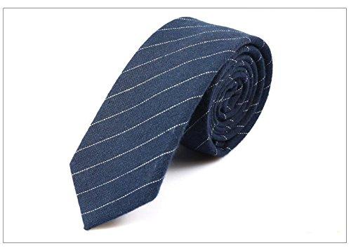 Blau Gestreiften Krawatte (GOOD.designs Herrenkrawatte slim fit, handgenäht aus Baumwolle in verschiedenen Farben - schmale 6cm Baumwollkrawatte für Männer (Blau-Gestreift))