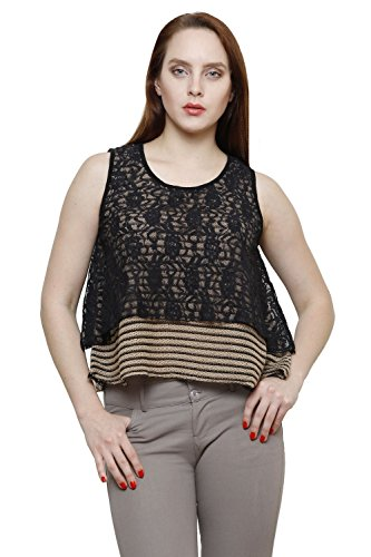 Renka Beige Round Neck Striped Lace Crop Tops For Women