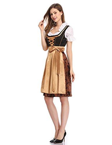 Clearlove Dirndl 3 tlg.Damen Midi Trachtenkleid für Oktoberfest- Spitzen Kleid, Bluse & Schürze, Gelb, 42