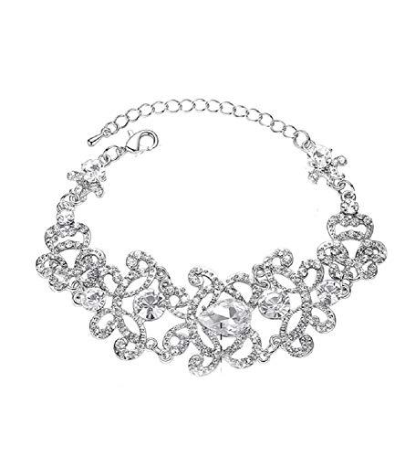 Unbekannt Schmuckset Armband Ohrringe Silber Strass Braut Hochzeit groß Schmuck NEU XXL (Armband)