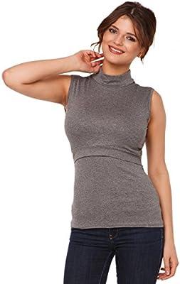 Happy Mama. Mujer top camiseta premamá y lactancia cuello alto doble capa. 986p