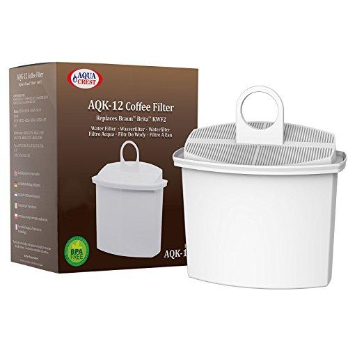 AquaCrest AQK-12 Kompatibler Kaffeemaschinen Wasserfilter Ersatz für Braun Brita KWF2; Aroma Select KF130, KF140, KF145, KF147, KF150, KF155, KF160, Aroma Passion KF550, KF560, KFT150, KK148 (1)