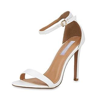 SCARPE VITA Damen Sandaletten High Heels Elegante Abendschuhe Basic Stilettos 157807 Weiss 38
