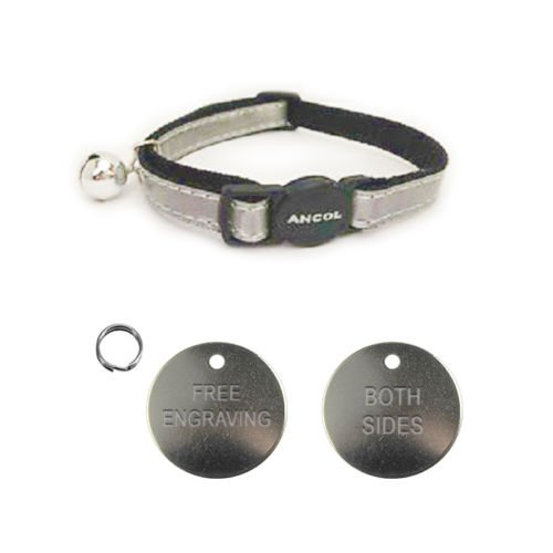 Carlton Ancol Katzen-Halsband, reflektierend, Schnelllösemechanismus, inkl. 22 mm großer Erkennungsmarke aus Nickel, Silber