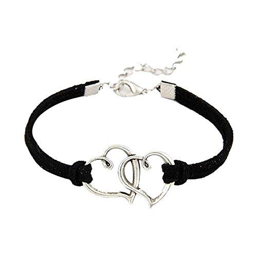 Oyedens Women Love Heart Handmade Rope Charm Jewelry Weave Bracelet (Black)