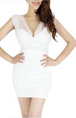 Bigood Robe de Cocktail Femme Col V Sans Manche Soirée Moulant Mode Blanc