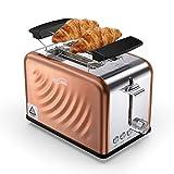 Housmile Edelstahl Toaster für 2 Brotscheiben, Frühstück Sandwichtoaster mit herausnehmbarer Krümelschublade und 6 Bräunungsstufen, abnehmbarer Brötchenaufsatz und praktische Hebefunktion, Bronze