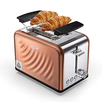 Housmile-Edelstahl-Toaster-fr-2-Brotscheiben-Frhstck-Sandwichtoaster-mit-herausnehmbarer-Krmelschublade-und-6-Brunungsstufen-abnehmbarer-Brtchenaufsatz-und-praktische-Hebefunktion-Bronze