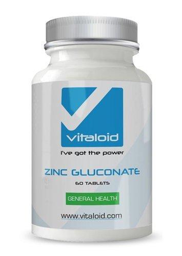Gluconato de Zinc Vitaloid - 60 Comprimidos - El Gluconato de zinc es el mejor suplemento deportivo para la reparación y crecimiento muscular. Suplemento Vitamínico que refuerza el sistema inmunológico. Ayuda a la salud reproductiva de hombres y Mujeres. El zinc es de vital importancia para: Un sistema inmunológico fuerte, para mantener un buen estado de ánimo, la claridad mental y mejorar el sueño.