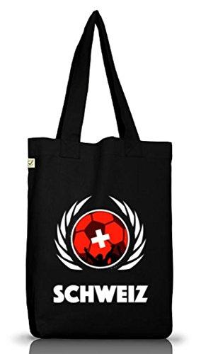 Swiss Fussball WM Fanfest Gruppen Jutebeutel Stoffbeutel Earth Positive Fußball Schweiz Black