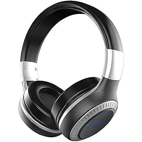 Cuffie Wireless ZEALOT B20 Auricolare Bluetooth Cuffie Senza Fili e Mic V4.1 Noise Cancelling fascia Surround Sound 3.5mm AUX Jack, 8 ore Batteria per Apple IOS Android PC - Nero + Argento