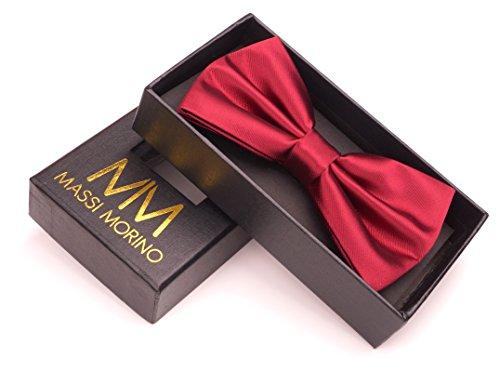 Massi Morino ® Fliege für Herren (verstellbar) vorgebundene Anzug Schleife | Querbinder bordeauxrot bordeauxrotefliege fliegebordeauxrot weinrot dark-red rotfarben bordeaux red Dark Red Bow Tie
