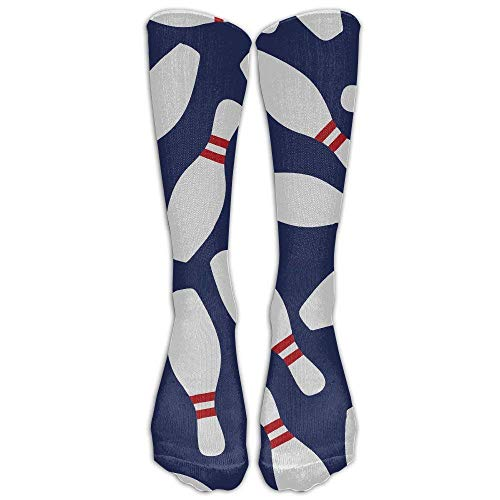 Kotdeqay Unisex Athletic Bowling Skittle Long Socken 50cm (Frauen Rüschen-boot-socken Für)