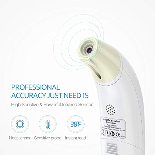 Imagen para Baby fiebre Thermomete, Frente Termómetro de oído Termómetro medicinal BGE Termómetro Digital Infrarrojo, lectura instantánea alerta de fiebre Clínica supervisión CE FDA y RoHS Certificado