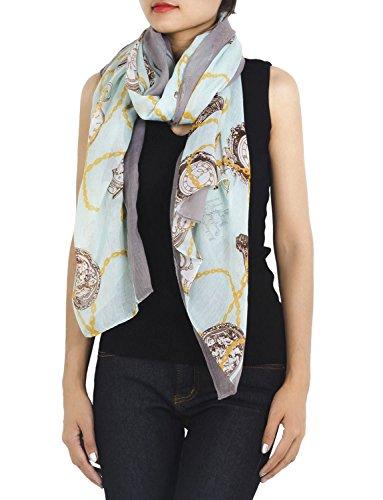 iB-iP Damen Uhr Print Stilvoll Herrlich Leichte Große Lange Mode Schal, Leichte Moss