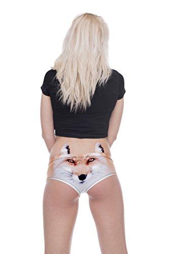 Damen Panties Hipster Unterhosen mit Ohren Shorts Fullprint One Size Fox