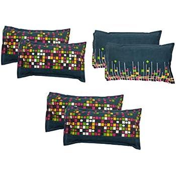"""Amrange Designer Printed 6 Piece Cotton Pillow Cover Set - 17"""" x 27"""", Multicolour"""