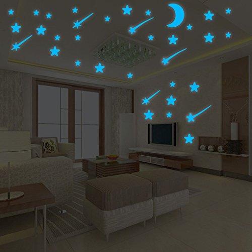 fgghfgrtgtg Blue Star leuchtender Aufkleber Hintergrund-Tapete Mural