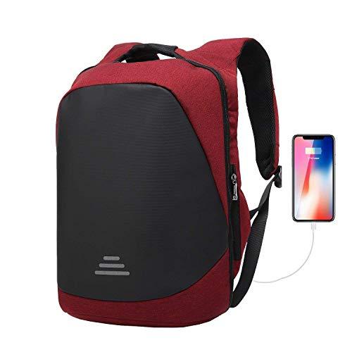 Mochilas para Ordenador portatil 17.3 Pulgadas Antirobo Impermeable con Cargador USB Mochila Viajes para Ocio/Negocio, Hombre/Mujer-Rojo