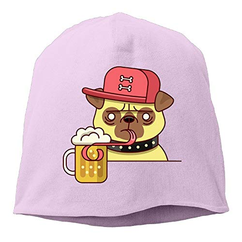 Zcfhike Hipster Mops Bier Trinken Frauen/Männer Strickmütze Weiche Stretch Beanies Skull Cap New11 -
