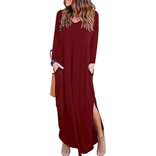 TEBAISE Herbst-Art- und Weisefrauen-Taschen-V-Ansatz Feste dünne Lange HüLsen-Lose Kleid-Abend-Junggesellen-Partei-Strand-Langer Maxi Kleid-Rock