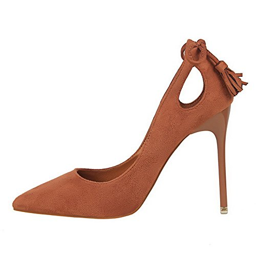 AalarDom Damen Blend-Materialien Stiletto Spitz Zehe Ziehen Auf Pumps Schuhe mit Schleife Khaki-Fransig