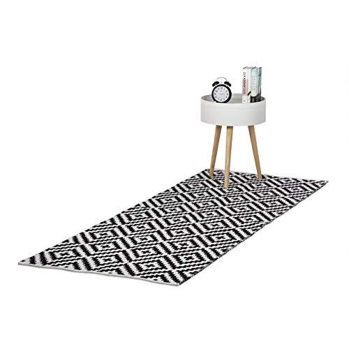 Relaxdays Alfombra Retro con Estampado Geométrico, Algodón y Poliéster, Blanco y Negro, 80 x 200 cm