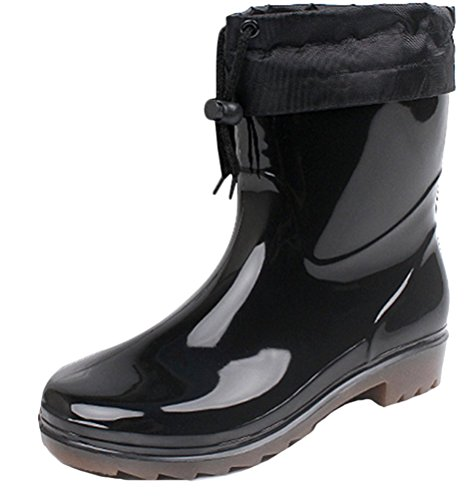 SMITHROAD Gummistiefel Männer Kurzschaft Zum Schnüren Warm Gefüttert Regenstiefe Wasserdicht Rutschfest Outdoor,Schwarz Gr.44 (Cool Handwerk Kinder Für)