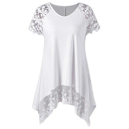 Mode Damen Raglan Ärmel Spitzenbesatz asymmetrische Lange T-Shirt Bluse O-Neck Top (L, Weiß) -