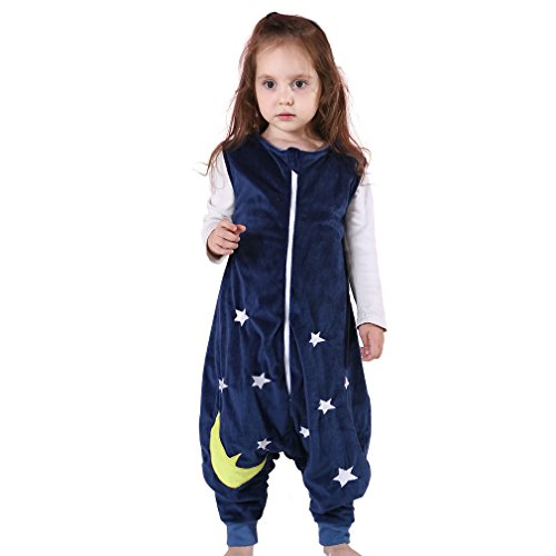 MICHLEY Baby Schläfer Flanell Tragbar Decke Pyjama, Leicht Baby Mädchen ärmel Schlafanzug schlafsack Mit Füße 2.5-5T (Blau)