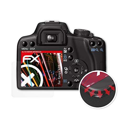 atFoliX Schutzfolie passend für Canon EOS 1000D / Rebel XS Folie, entspiegelnde und Flexible FX Displayschutzfolie (3X) (Canon Kamera Eos Rebel Xs)