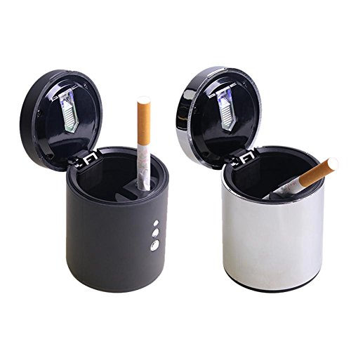 Zigaretten Aschenbecher Universal LED Aschenbecher Schwarz Silber für Auto LKW SUV (Aschenbecher Für Lkw)