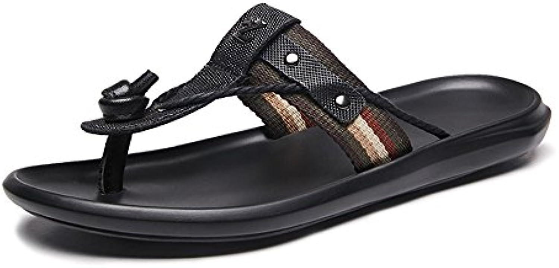 Tufanyu Männer Thong Flip Flops Schuhe aus echtem Leder Strand Hausschuhe rutschfeste Sohle Sandalen schwarz (Tufanyu Hausschuhe rutschfeste Sandalen schwarz