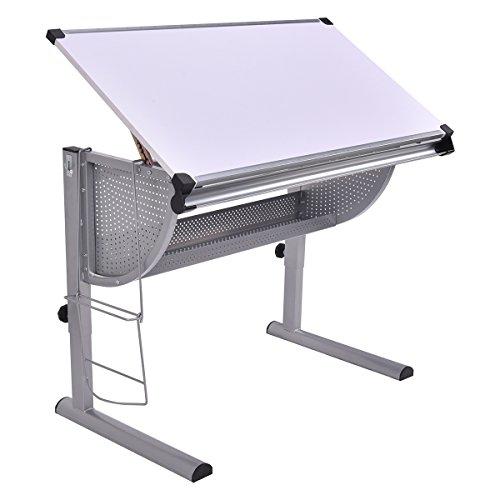 Zeichentisch mit Lineal Schreibtisch Architektentisch Bürotisch Computertisch mit neigbarer Tischplatte Farbwahl höhenverstellbar (weiß)