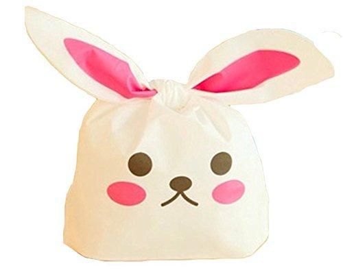 Little Sporter Kaninchen Ohr Keks Taschen Verpackt Tüte Lebensmittelqualität Kunststoff Verpackungen Süßigkeiten Verpackung Bag für Hochzeiten Ostern Weihnachten Dekoration 50 PCS (Kunststoff-halloween-taschen)