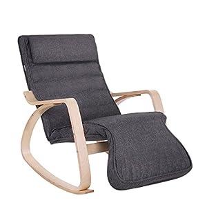 SONGMICS Schaukelstuhl, Schwingsessel mit 5-Fach Verstellbarer Fußstütze, Relaxstuhl, Belastbarkeit 150 kg, Gestell aus…