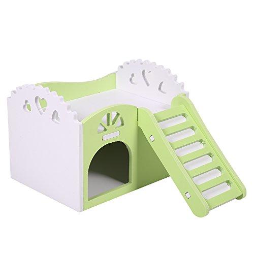 Maison Nid De Hamster Cage De Petit Animal Castel Couchage Jouet D'exercice 2 Couches Avec Escalier Design 15*11*11cm ( Couleur : Vert )