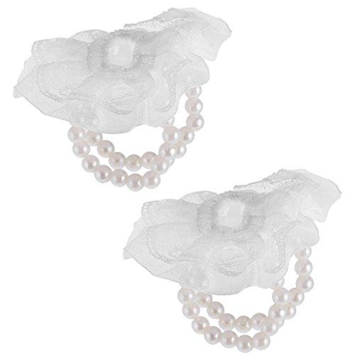 MagiDeal Korsage Armband Brautjungfer Requisiten Handgelenk Blumen Hochzeit Armreif für DIY Handwerk - Weiß, One Size (Handgelenk Diy Corsage)