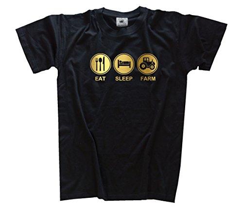Gold-traktor (Gold Edition Eat Sleep Farm Traktor Traktorist Trecker Kids Shirt Kinder-Shirt Schwarz 104)