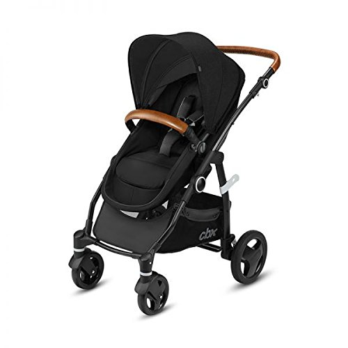 Cbx Leotie Flex Lux - Cochecito 2 en 1 con asiento/capazo reversible, incluye cubierta para lluvia, desde el nacimiento hasta los 15 kg, Smoky Anthracite