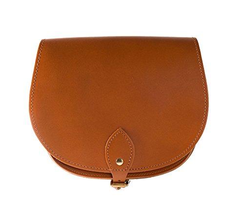 brun brillante de una silla de cuero real cuerpo de la cruz del bolso con correa ajustable y Cierre Hebilla